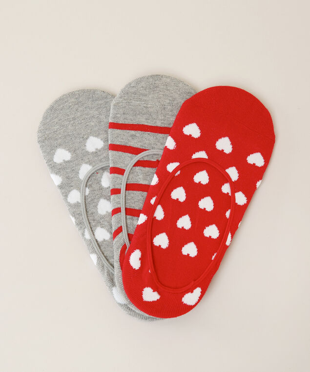 3 pack of no show heart and stripe socks, MIXED, hi-res