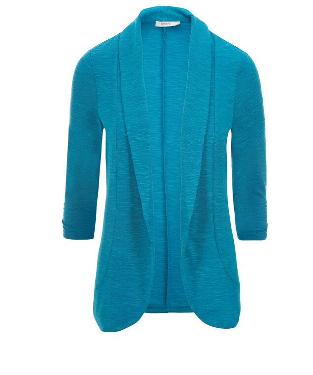 Shawl Collar Cover-Up, Turquoise, hi-res