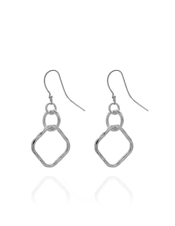Silver Geometric Drop Earring, Silver, hi-res