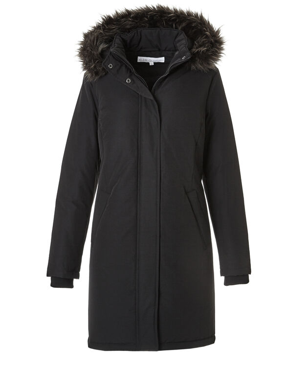 Long Arctic Down Coat, Black, hi-res