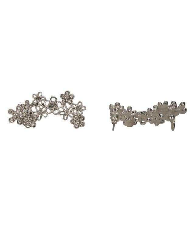 Floral Ear Crawler, Rhodium, hi-res