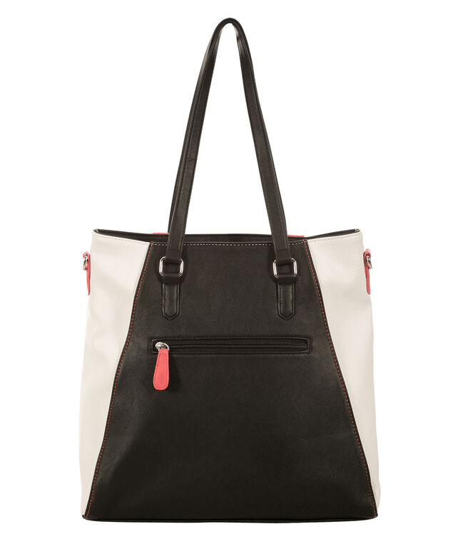 Colour Block Tote Bag, Light Coral/Black/Milkshake, hi-res