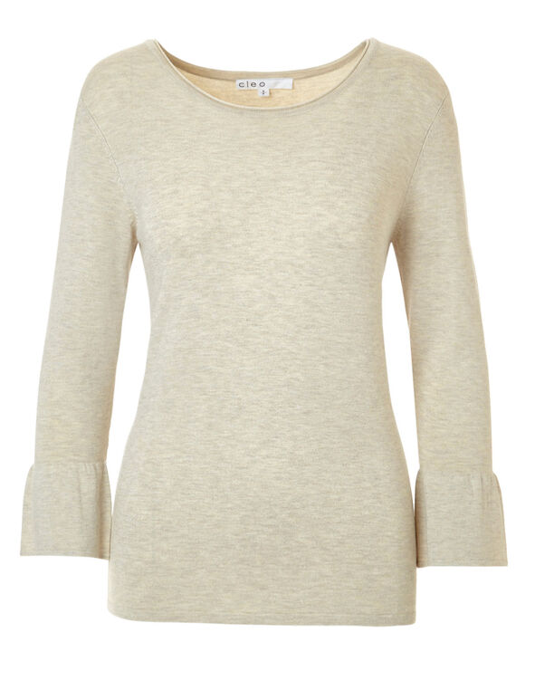 Latte Melange Bell Sleeve Sweater, Latte Melange, hi-res