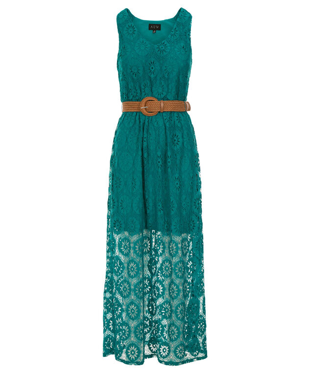 Luxology Lace Crochet Maxi Dress, Teal, hi-res