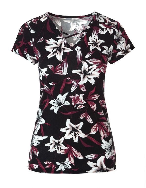 Claret Floral Criss Cross Tee, Black/Claret/White, hi-res