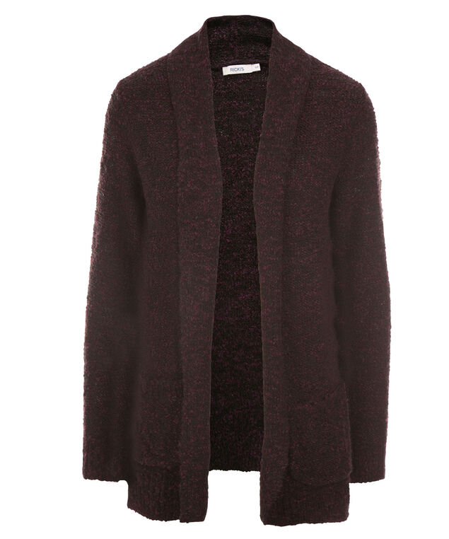 Cozy Boucle Cardigan, Dark Plum, hi-res