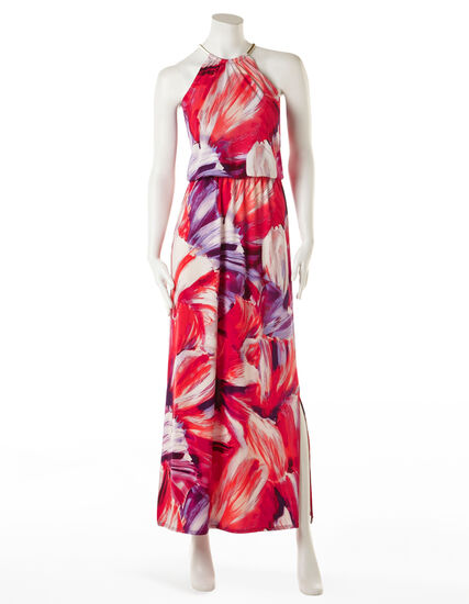 Paint Stroke Halter Maxi Dress, Red/Purple/Magenta, hi-res