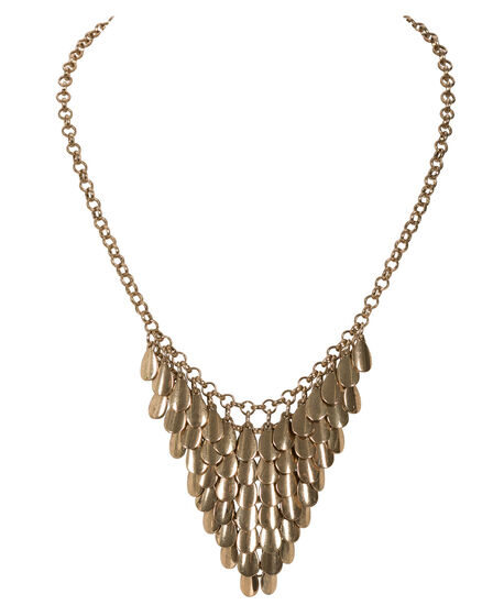 Teardrop Statement Necklace, Antique Gold, hi-res