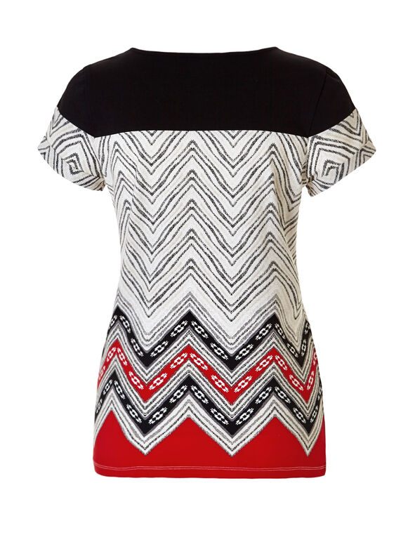 Printed Scoop Neck Tee, Black/Red/Stone/White, hi-res