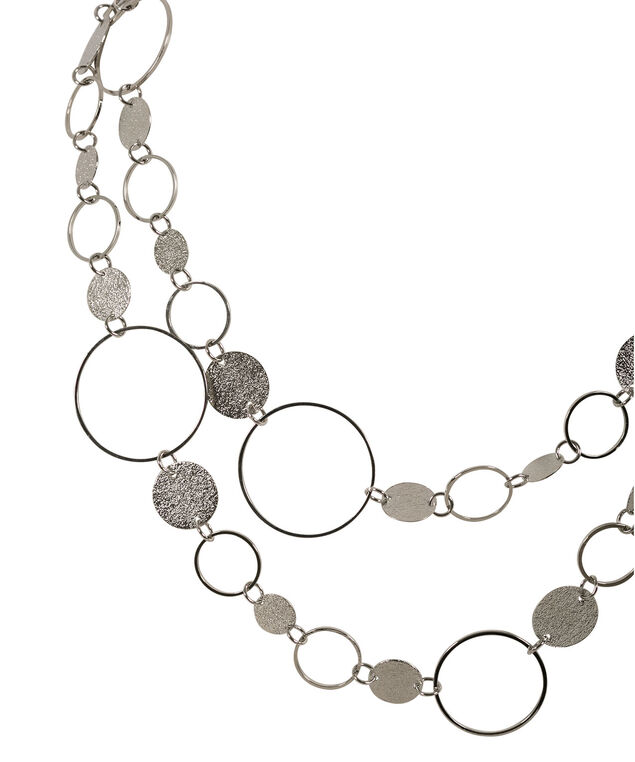 Brushed Metal Necklace, Rhodium, hi-res