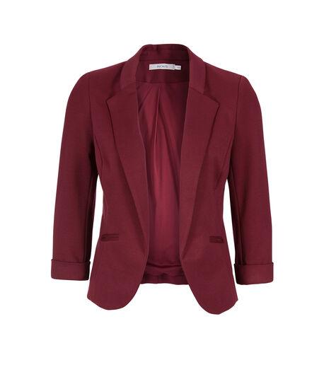 Knit 3/4 Sleeve Open Blazer, Garnet, hi-res