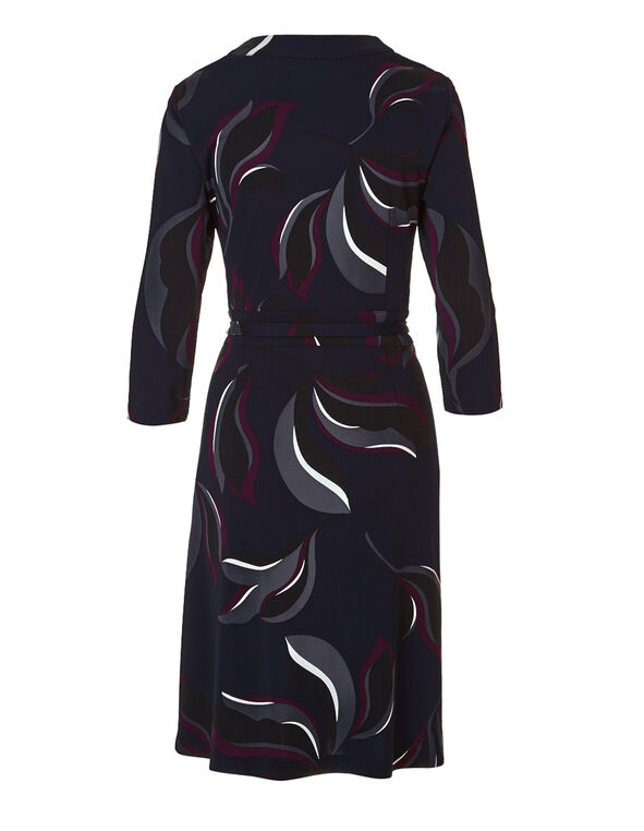 Navy Print Wrap Dress, Navy/Ivory/Claret, hi-res