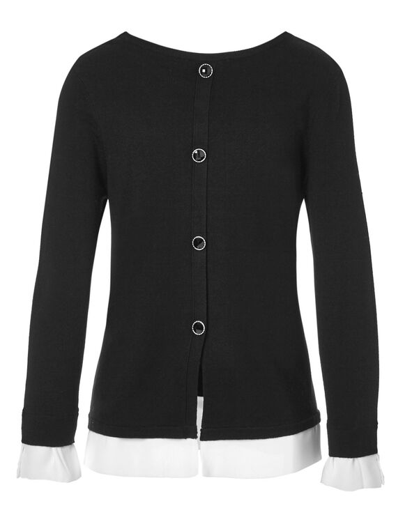 Crew Neck Woven Bottom Sweater, Black, hi-res
