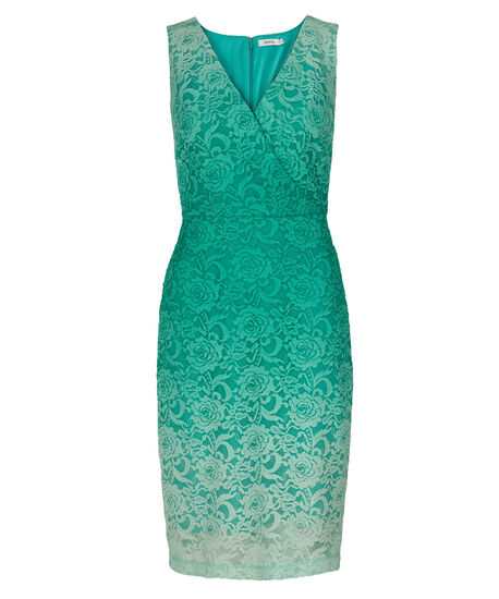 Ombre Lace Sheath Dress, Teal, hi-res