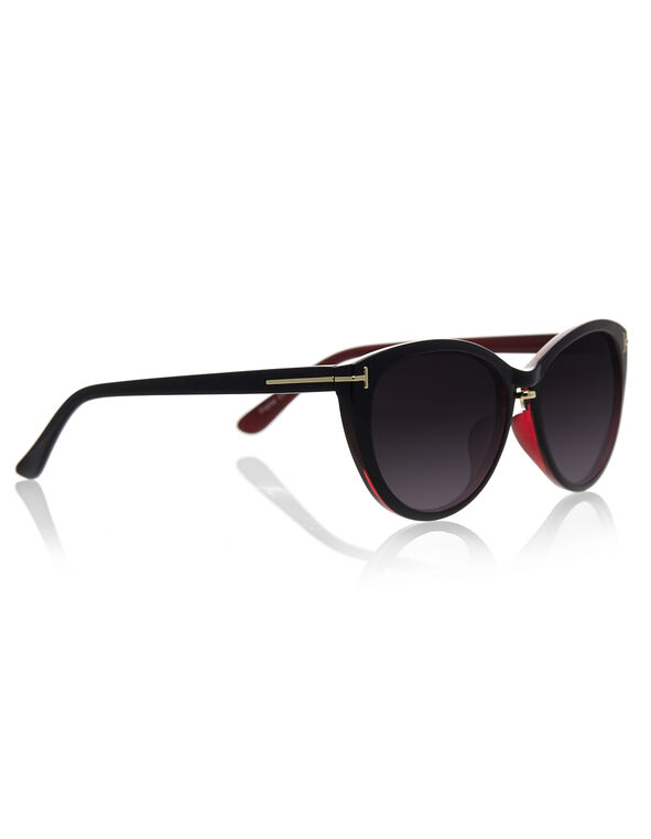 2 Tone Cateye Sunglasses, Red, hi-res