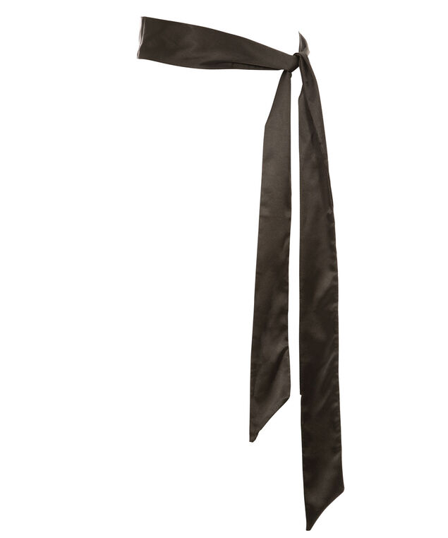 3 in 1 Satin Skinny Scarf, Black, hi-res