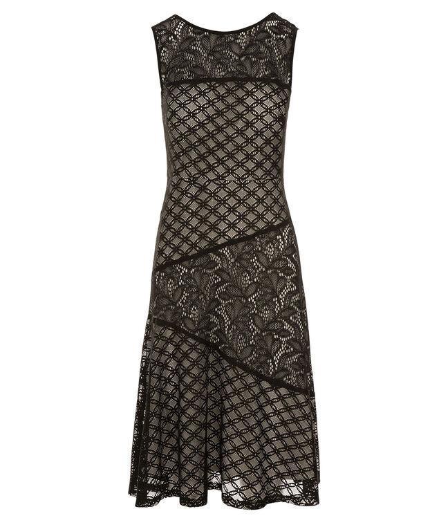 Spliced Lace Dress, Black/Ivory, hi-res