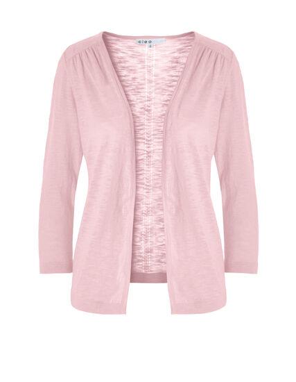 Soft Pink Pointelle Knit Cardigan, Soft Pink, hi-res