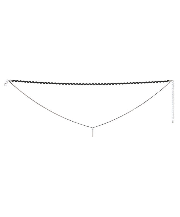 double strand delicate choker, BLACK/MIXED, hi-res