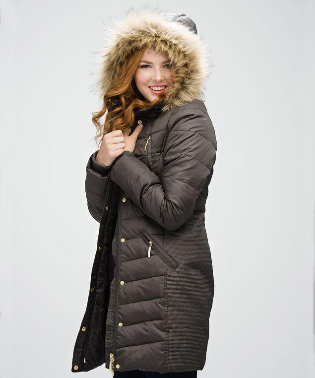 Side Ruched Puffer Coat, Dark Olive, hi-res