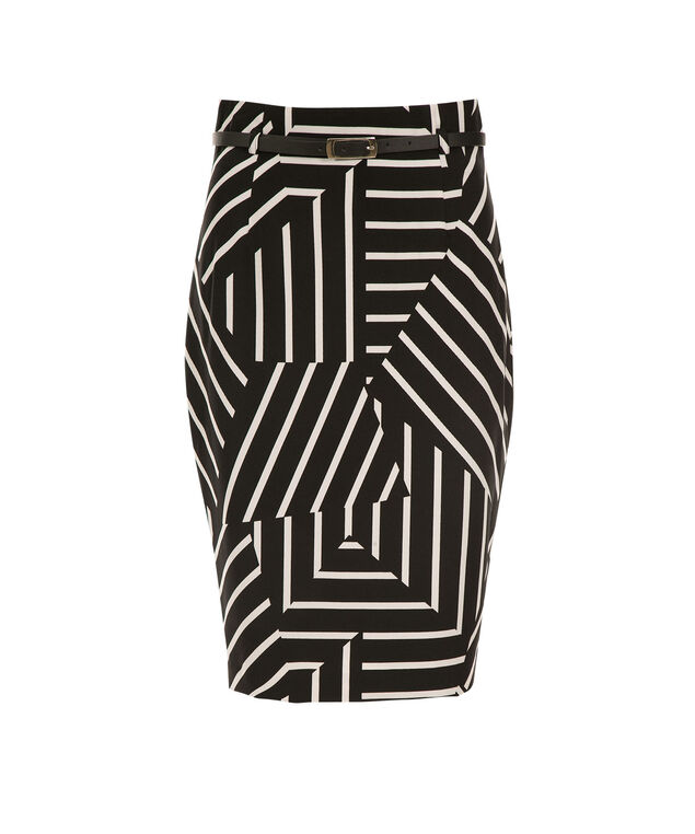 High Waist Pencil Skirt, Black/White Stripe, hi-res