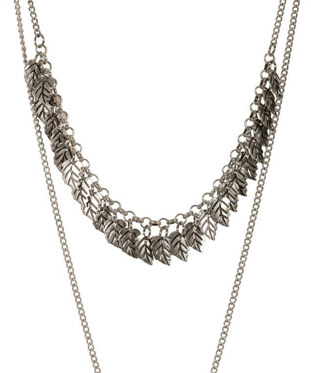Layered Leaf Pendant Necklace, Burnished Silver, hi-res