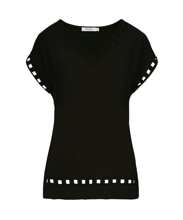 Ric Rac Trim Top, Black, hi-res