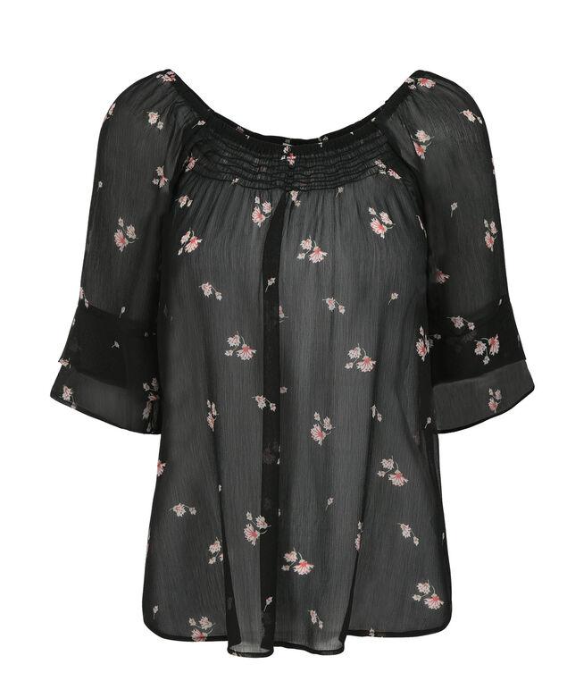 Smocked 2-Layer Blouse, Black/Pink Print, hi-res