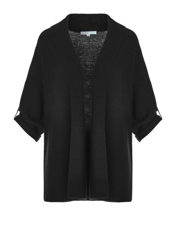 Black Roll Up Cardigan Sweater, Black, hi-res