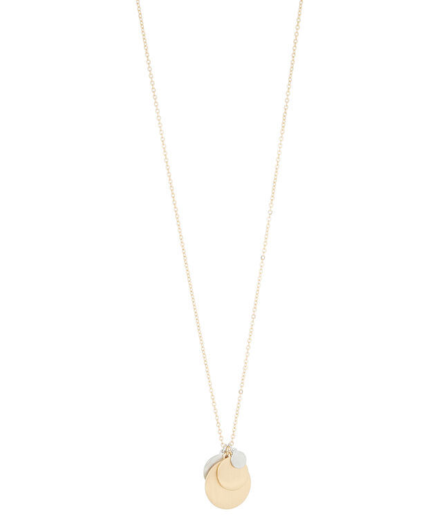 long necklace with metal discs, MULTI, hi-res