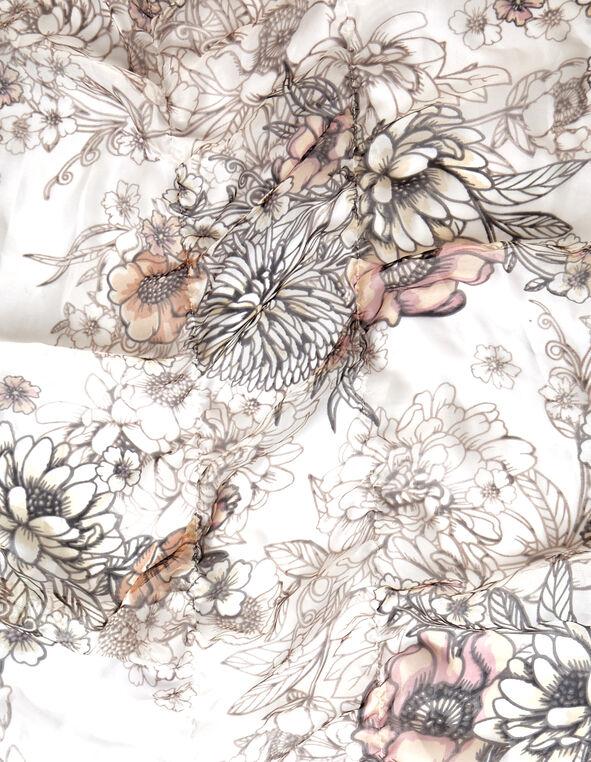 Floral Ruffle Boa Scarf, Neutral, hi-res