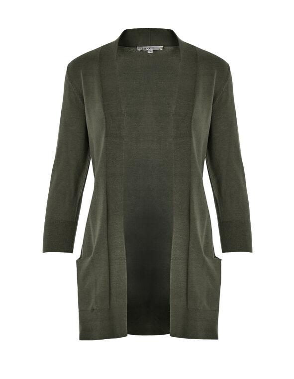 Olive 3/4 Sleeve Open Cardigan, Olive Melange, hi-res