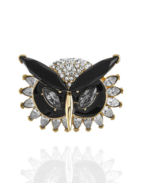 Owl Masquerade Pin, Gold/Black, hi-res