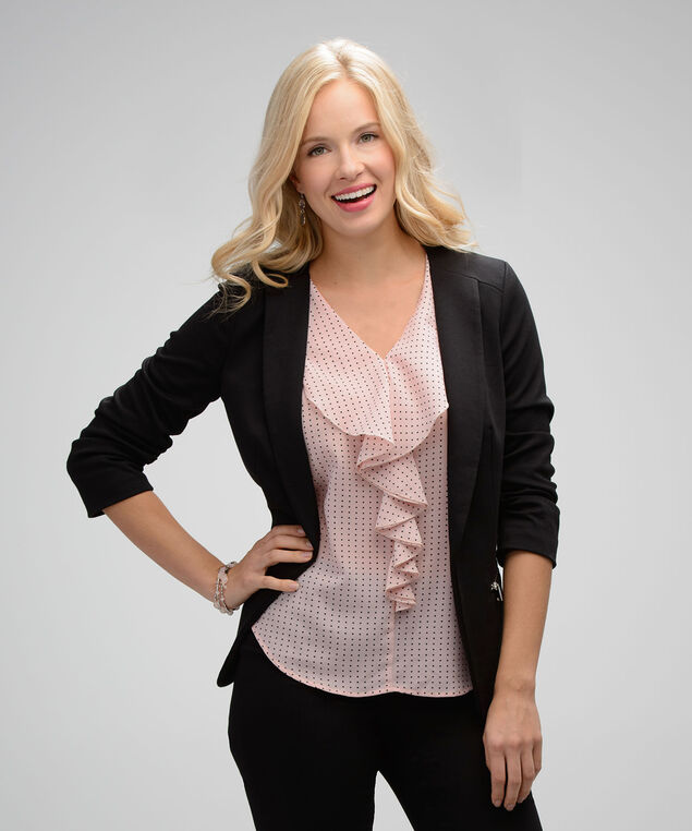 Ruffle Front Blouse, Pink Print, hi-res