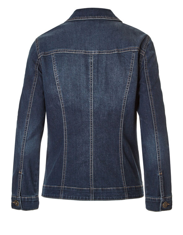 Long Sleeve Denim Trucker Jacket, Dark Wash, hi-res