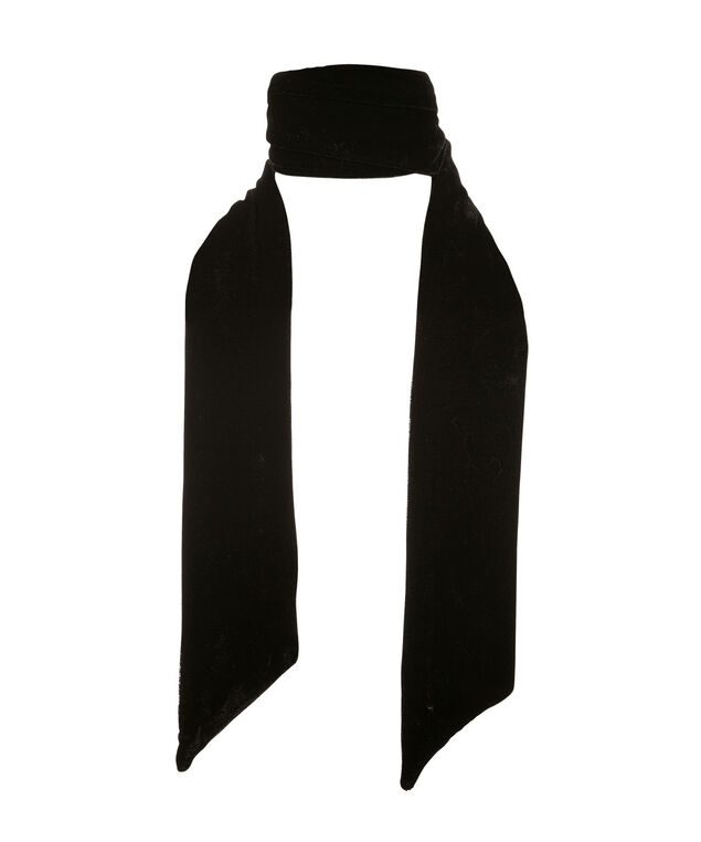 3 in 1 Velvet Skinny Scarf, Black, hi-res
