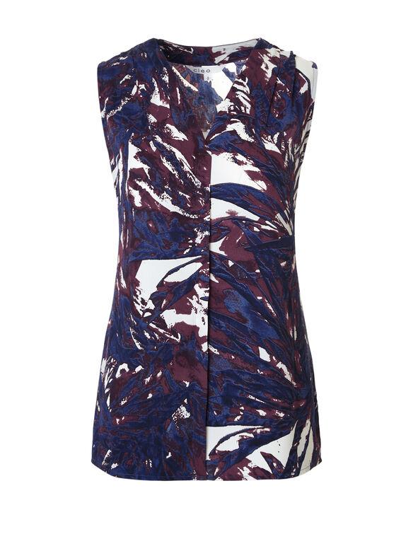 Navy Palm Print Sleeveless Blouse, Navy/Palm Print, hi-res
