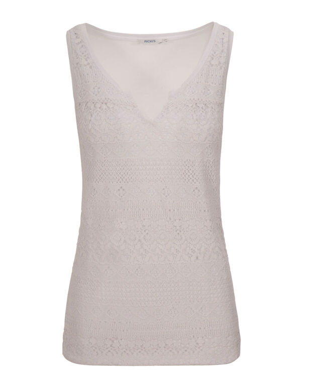 Crochet Notch Neck Tank, True White, hi-res