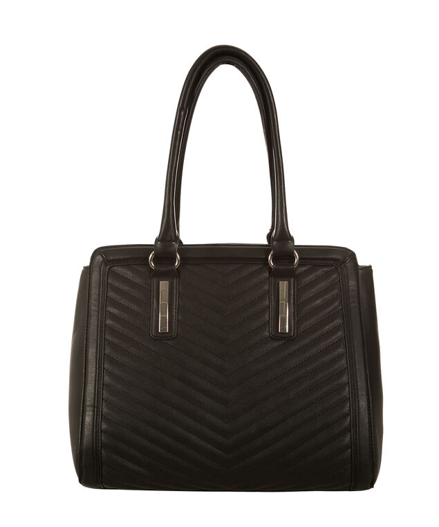 Chevron Quilted Satchel Bag, Black, hi-res