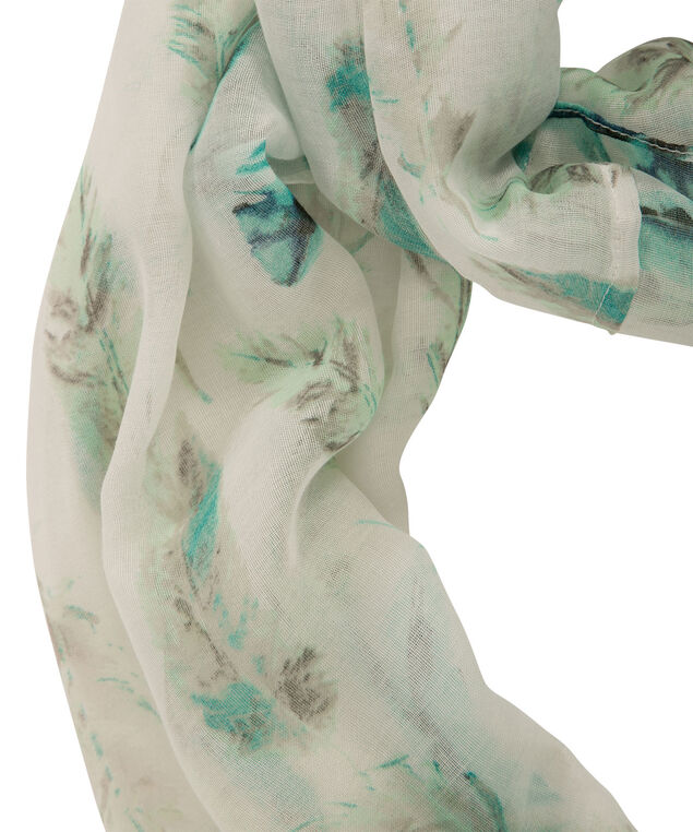 Feather Print Eternity Scarf, Turquoise/Lagoon/Yellow, hi-res