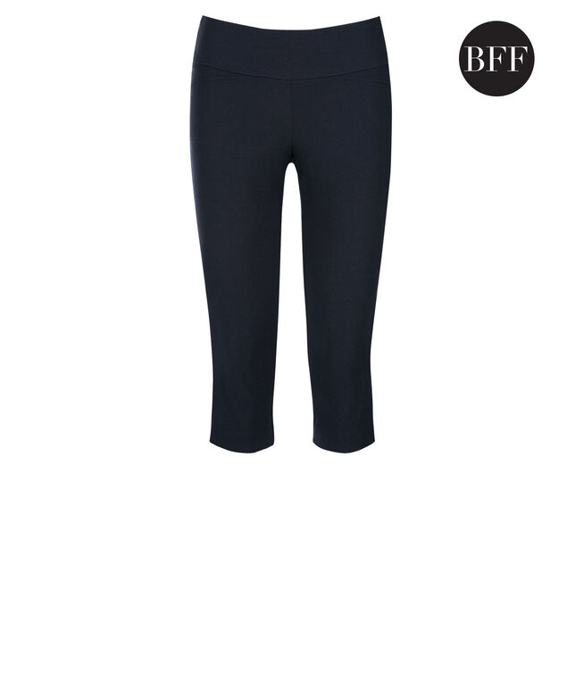 Microtwill Super Slim Leg Capri, Heathered Navy, hi-res