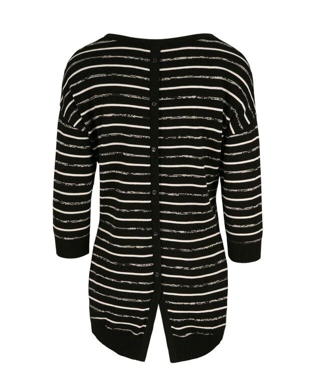 3/4 Sleeve Striped Pullover, Black/Milkshake, hi-res