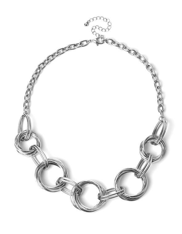 Rhodium Multi Ring Necklace, Rhodium, hi-res