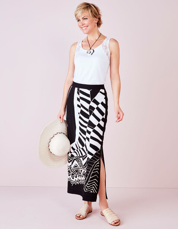 Front Slit Maxi Skirt, Black/White/Stone, hi-res