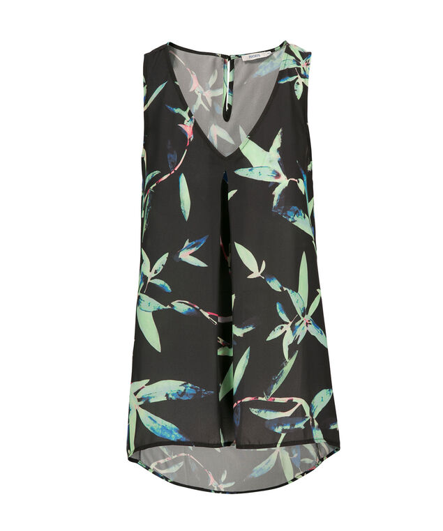 Pleat Front Tank, Green Print, hi-res