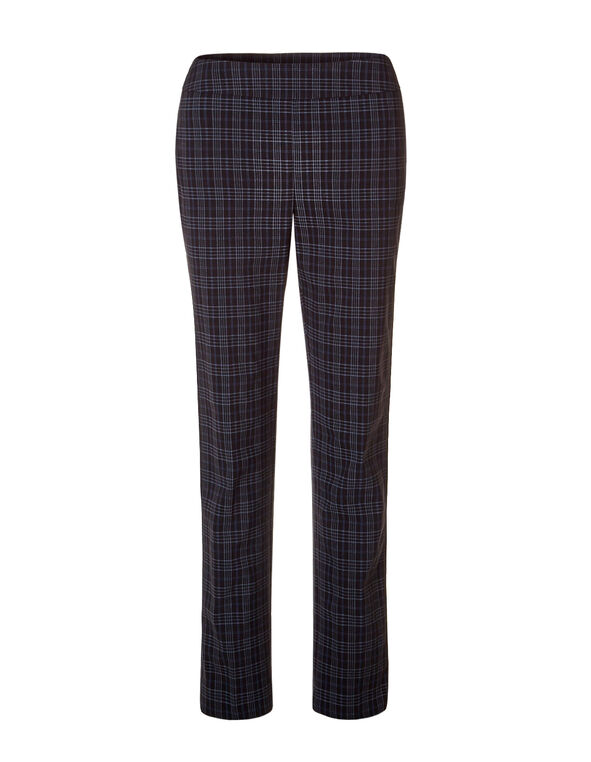 Plaid Signature Slim Leg Pant, Black/Grey/Navy, hi-res