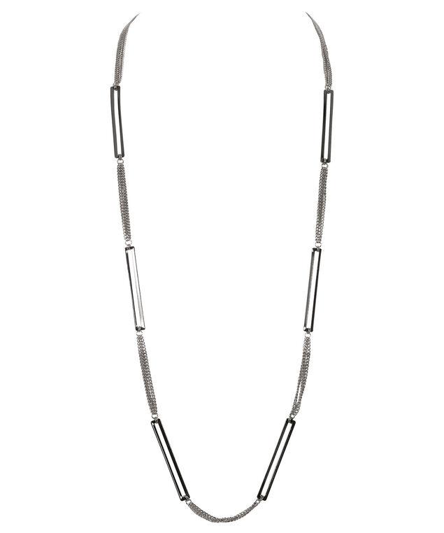 Stationed Rectangle Necklace, Rhodium/Hematite, hi-res