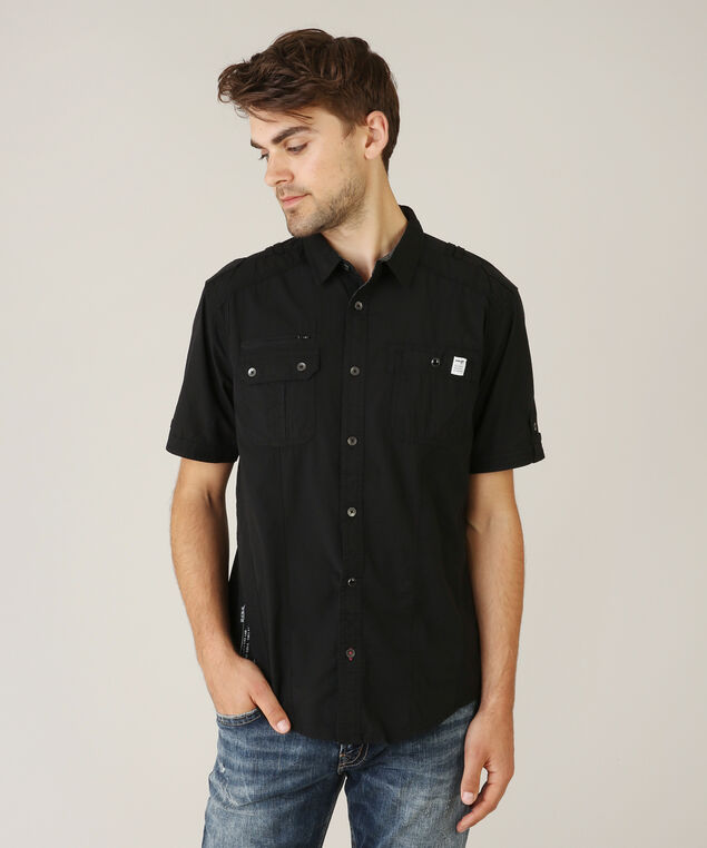 2 pocket woven shirt, BLACK, hi-res