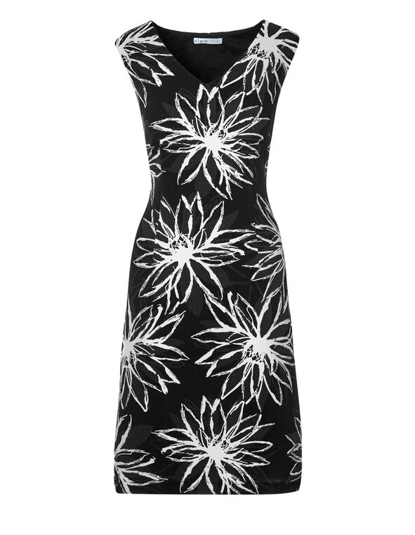 Black Floral A-Line Dress, Black/White/Grey, hi-res