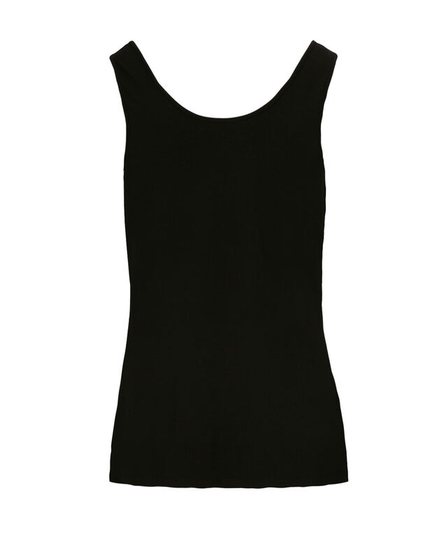 Scoop Neck Built-Up Cami, Black, hi-res